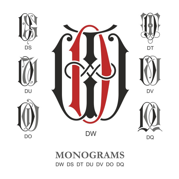 Monogram Vector Large Collection DW Free DXF File
