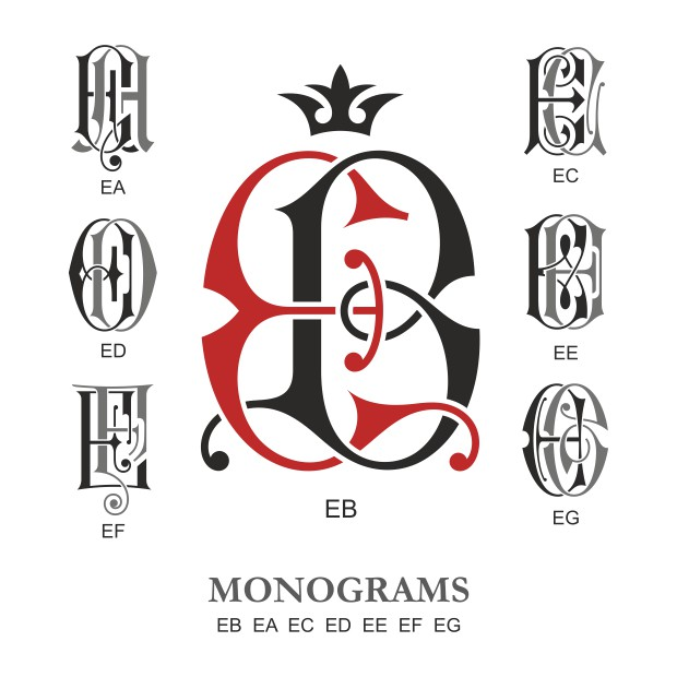 Monogram Vector Large Collection EB Free DXF File