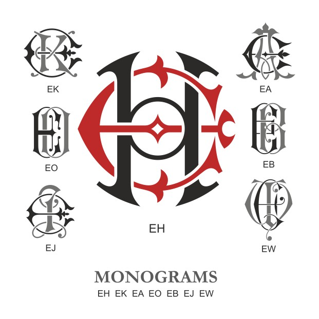 Monogram Vector Large Collection EH Free DXF File