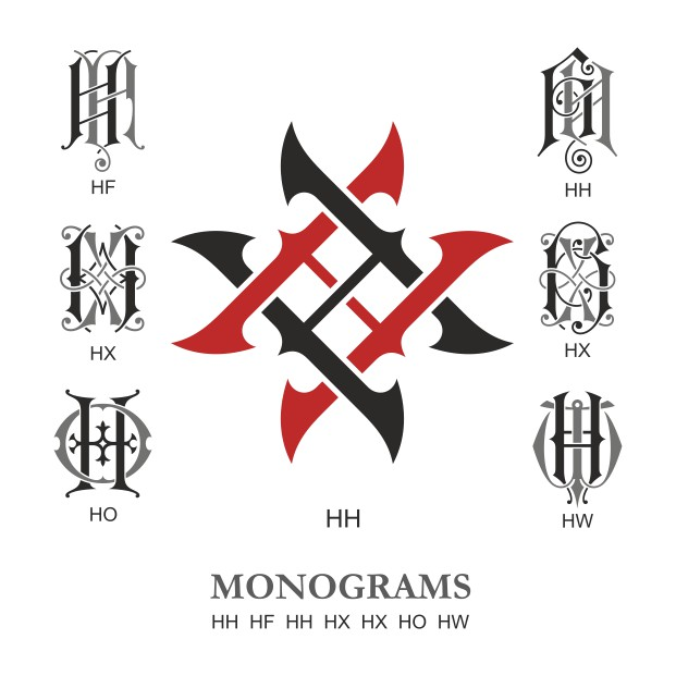 Monogram Vector Large Collection HH Free DXF File