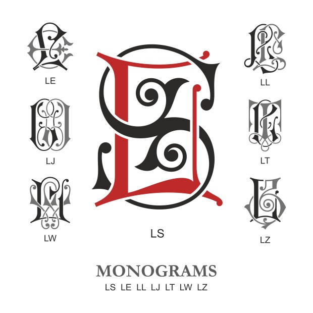 Monogram Vector Large Collection LS Free DXF File