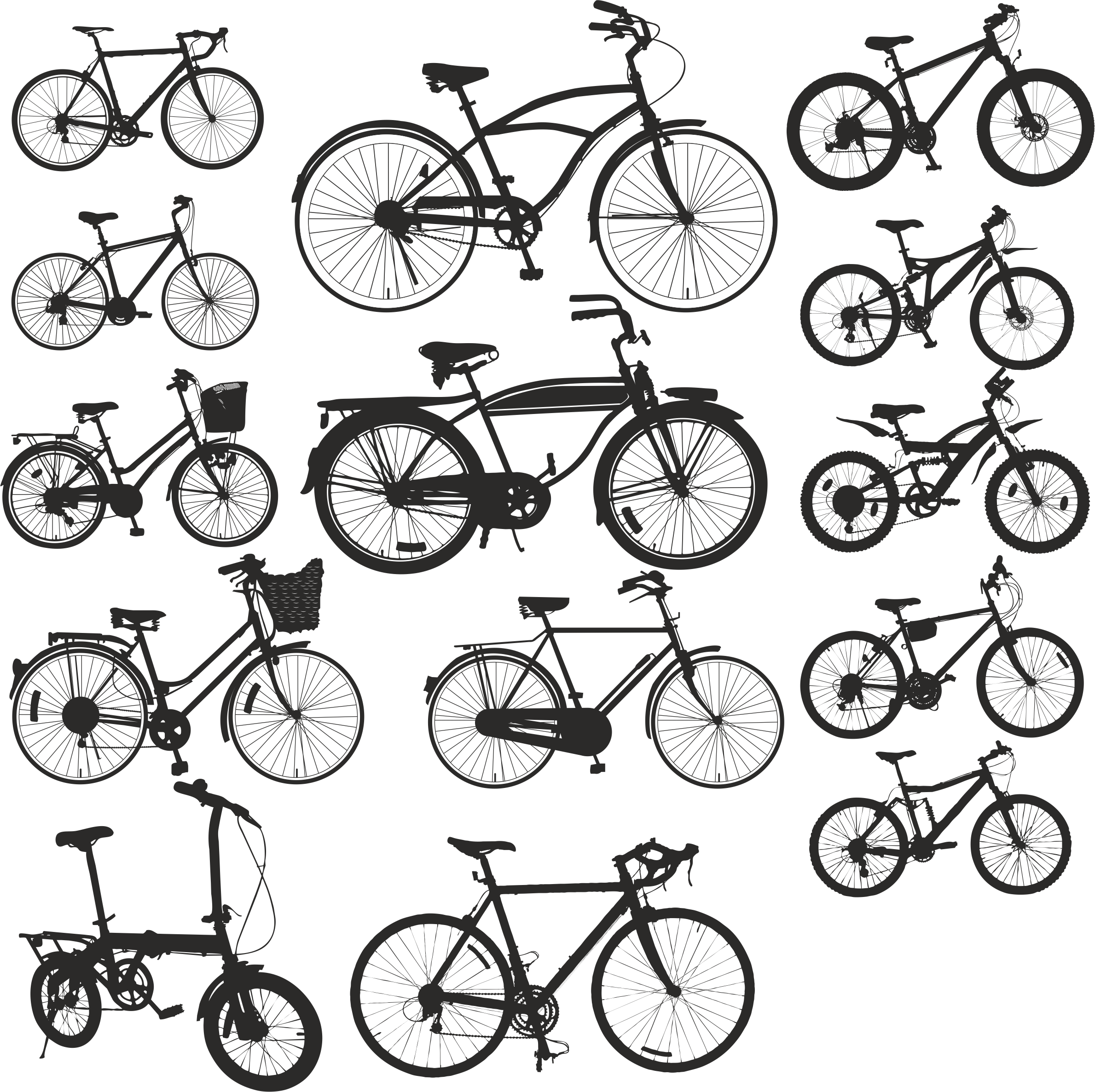 Silhouettes Of Bicycles Free DXF File