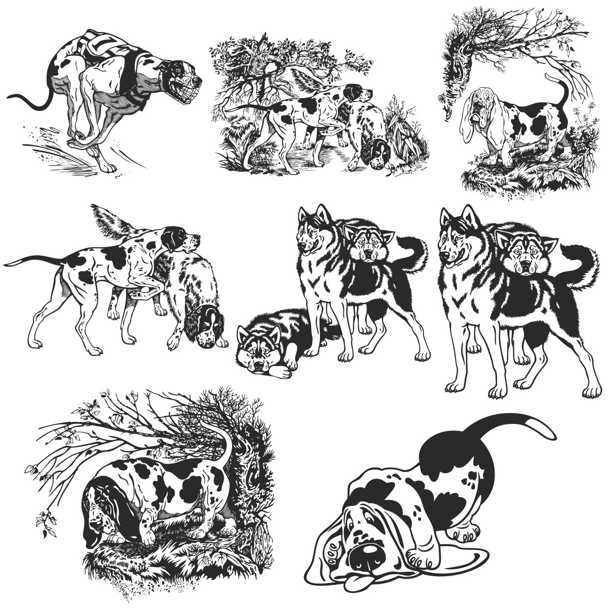 Vector Image Of Dog For Plotter Cutting Free DXF File