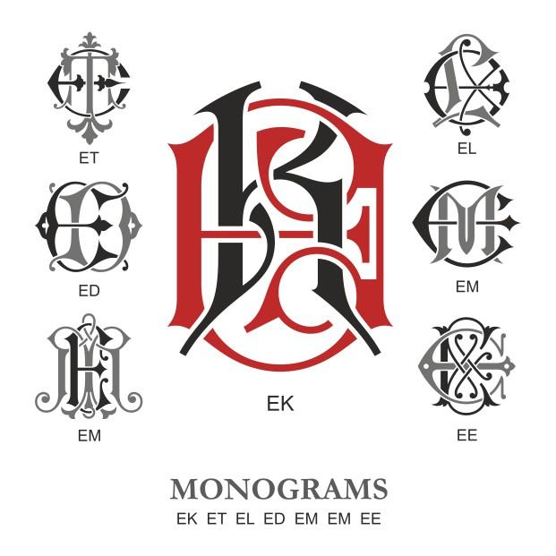 Monogram Vector Large Collection Ek Free DXF File