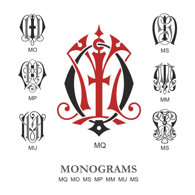 Monogram Vector Large Collection Mq Free DXF File