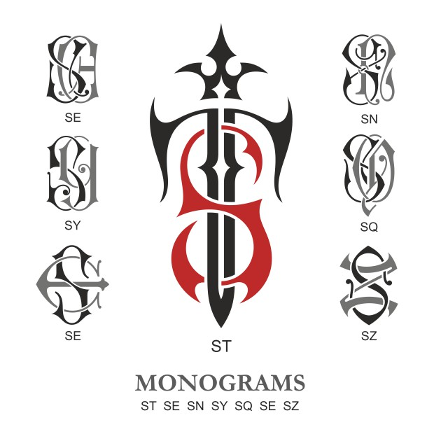 Monogram Vector Large Collection St Free DXF File