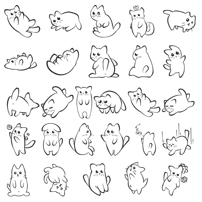 Vector Silhouettes Of One Funny Kitten Free DXF File
