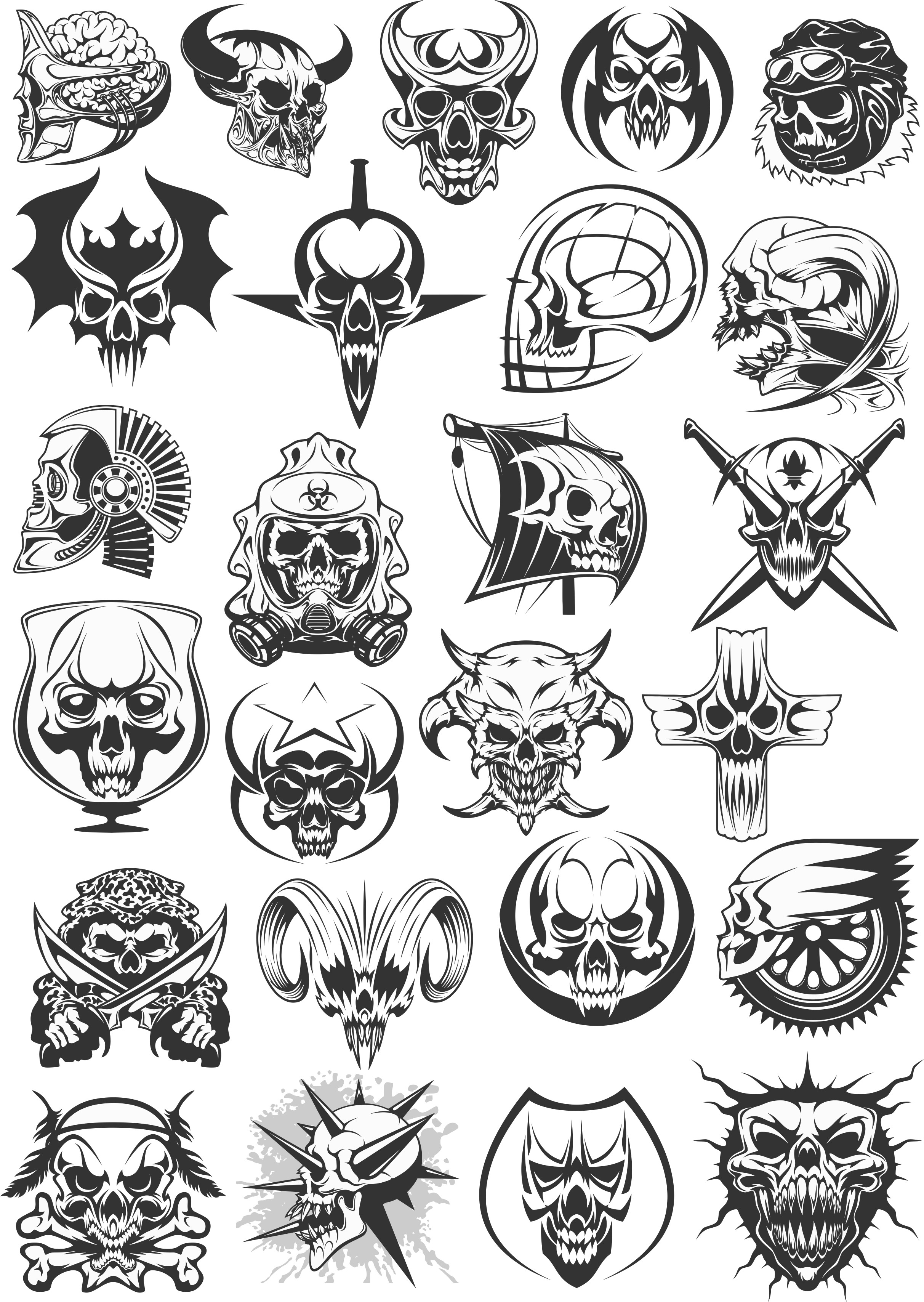 Vector Skull Patterns For Plotter Cutting Free DXF File