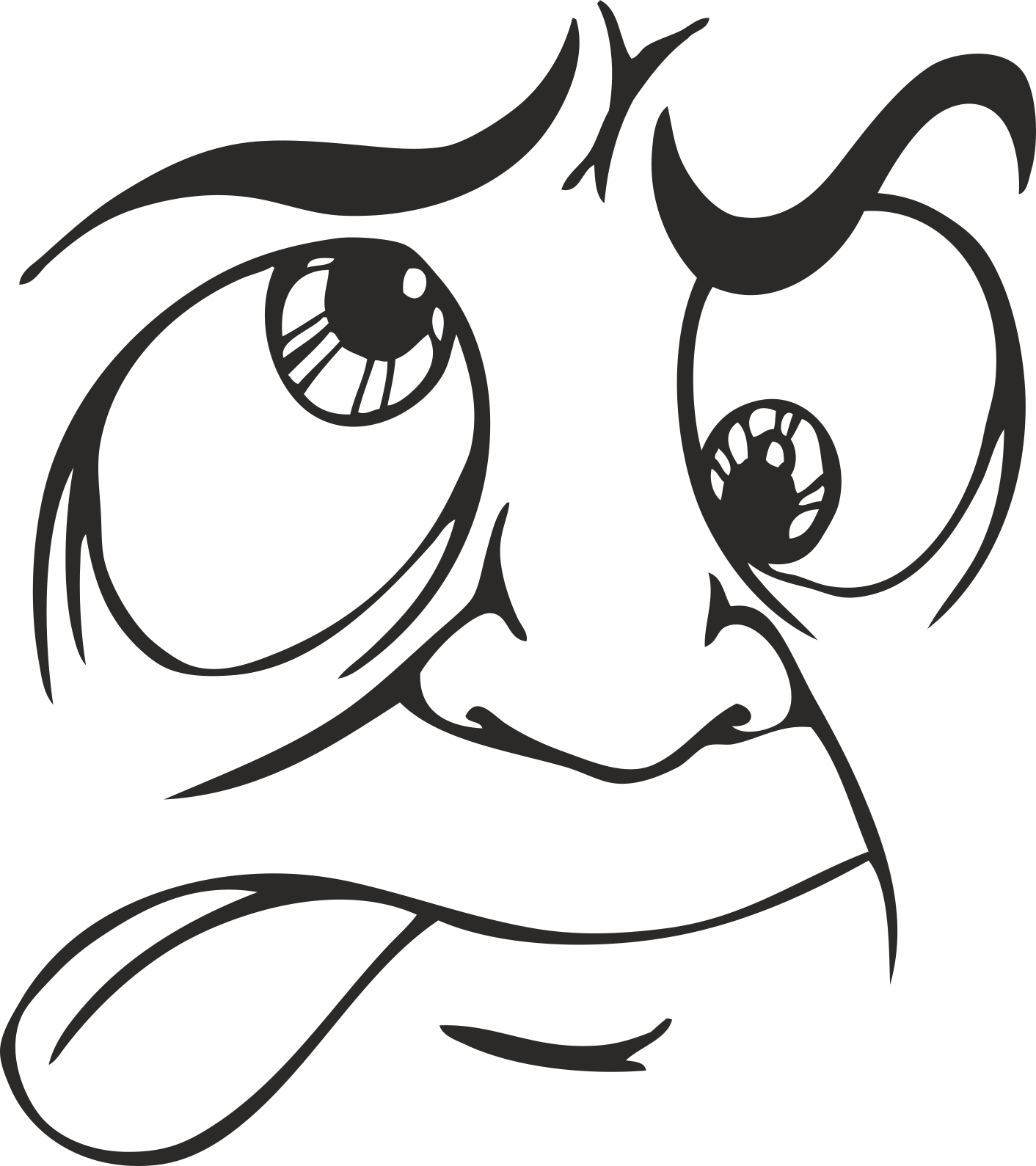 Face Vector Mens Smiley 02 Free DXF File