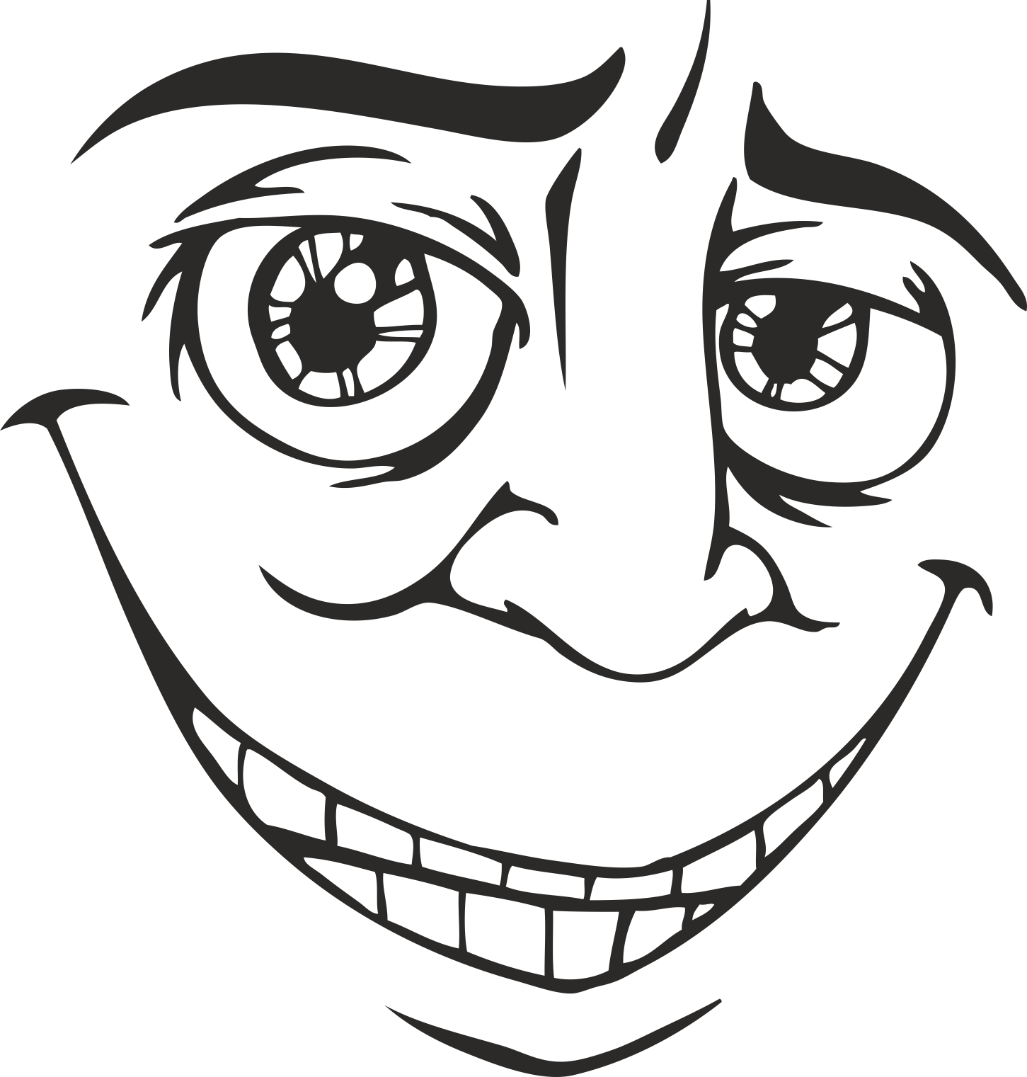 Face Vector Mens Smiley 21 Free DXF File