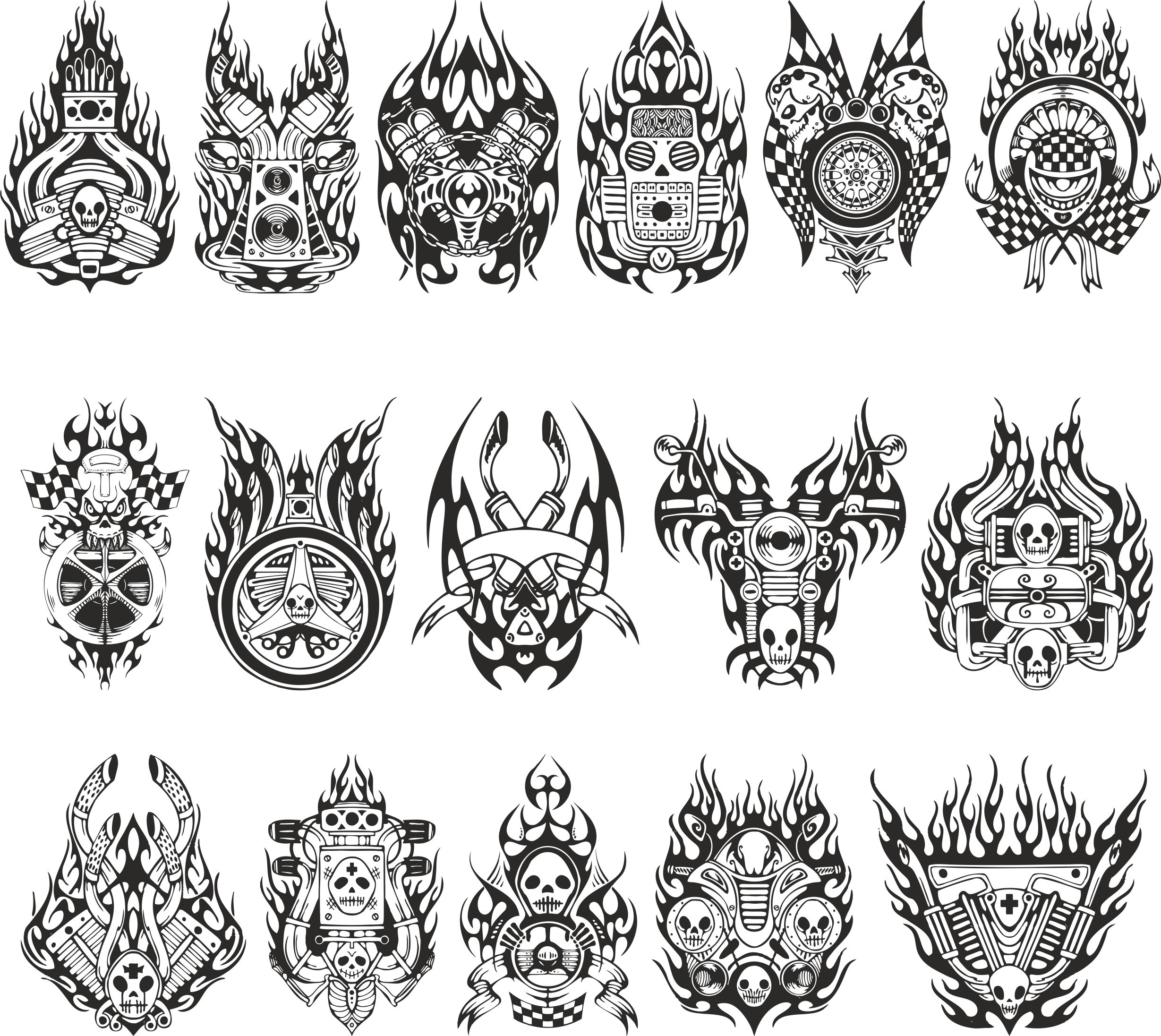 Motorcycle Stickers Free DXF File