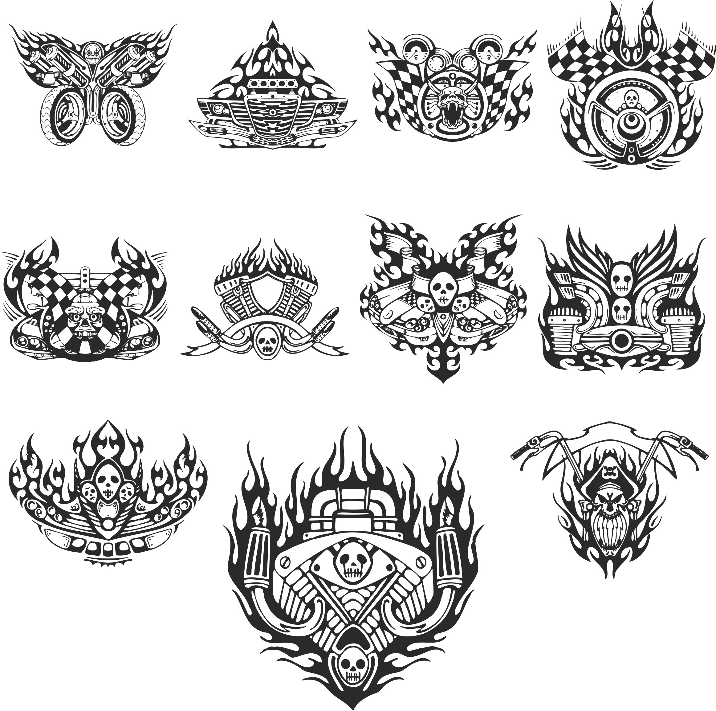 mock-ups Of Motorcycle Stickers Collection 3 Free DXF File