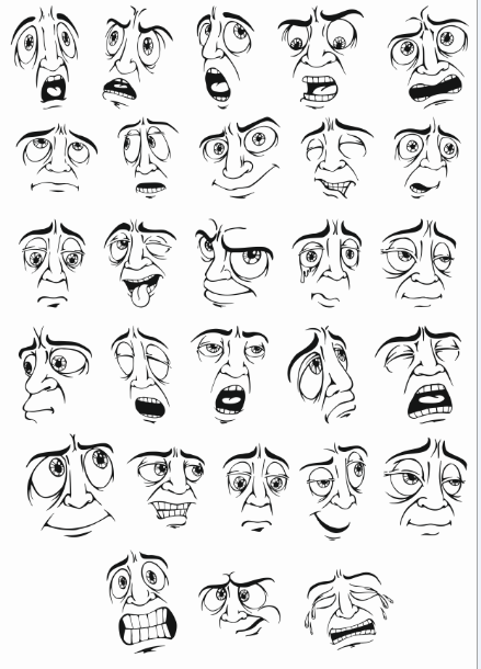 Smileys Vector Mens Face Facial Expression Free DXF File