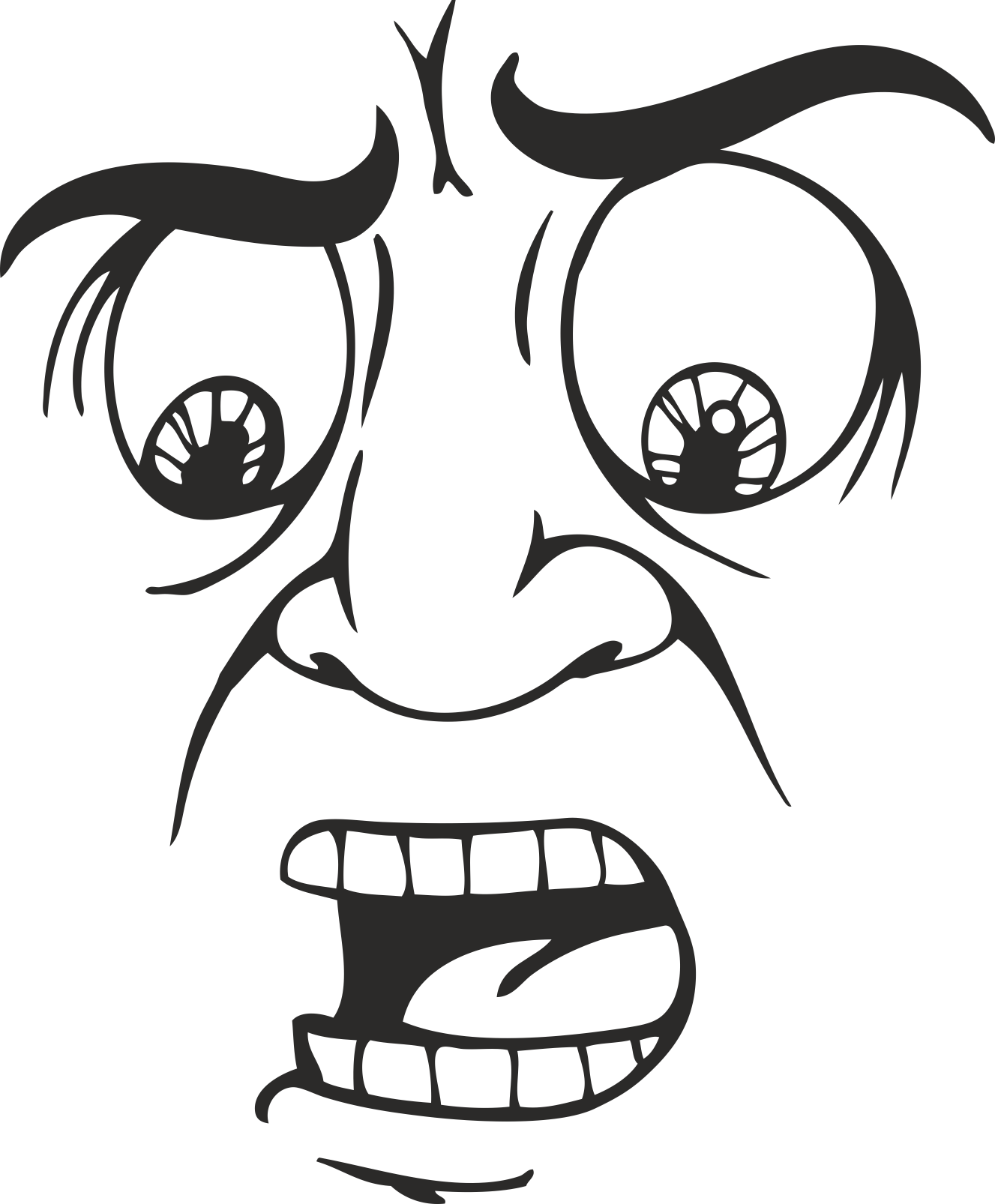 Mens Face Facial Smileys Expression 04 Free DXF File