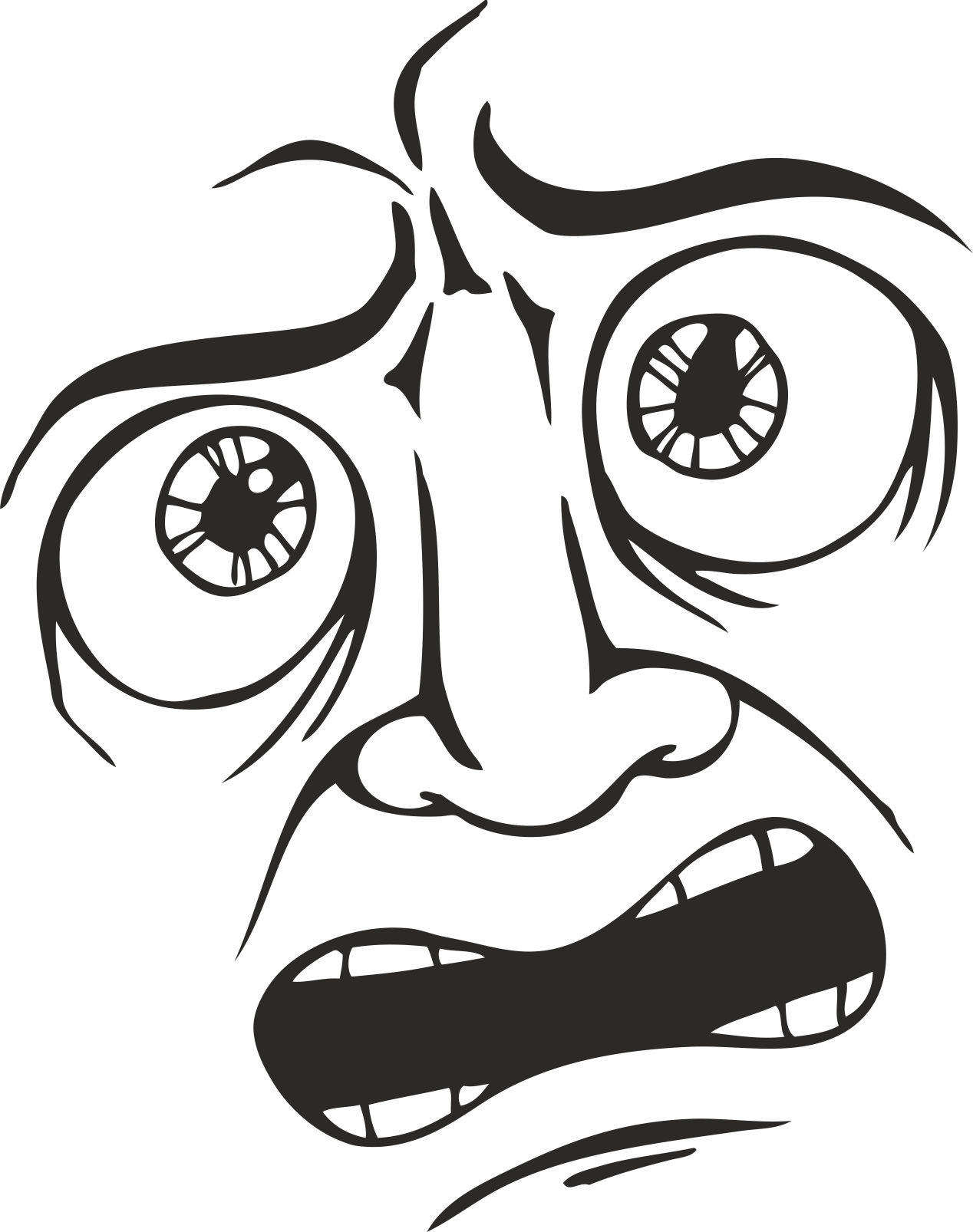 Mens Face Facial Smileys Expression 05 Free DXF File