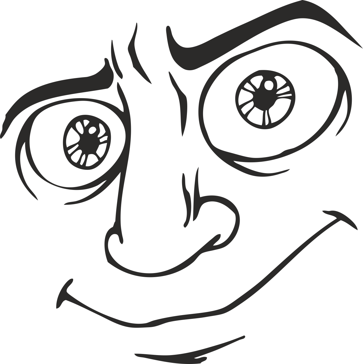 Mens Face Facial Smileys Expression 08 Free DXF File