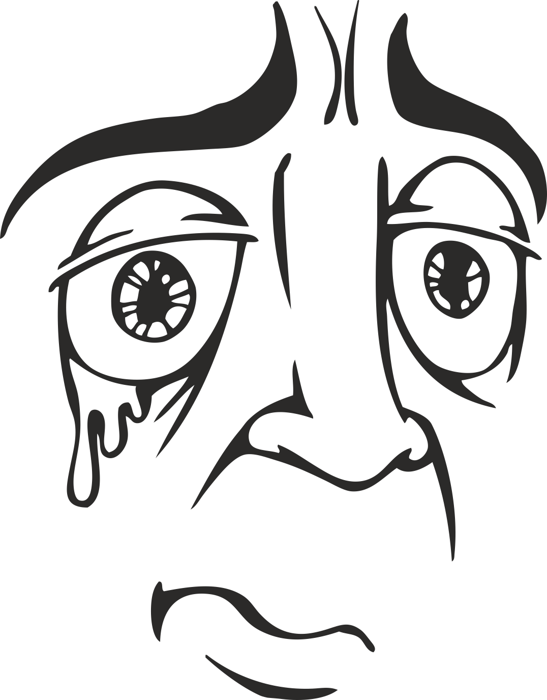 Mens Face Facial Smileys Expression 14 Free DXF File