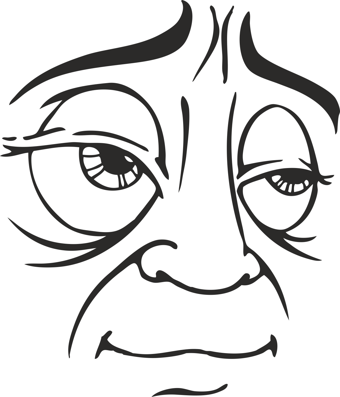 Mens Face Facial Smileys Expression 15 Free DXF File