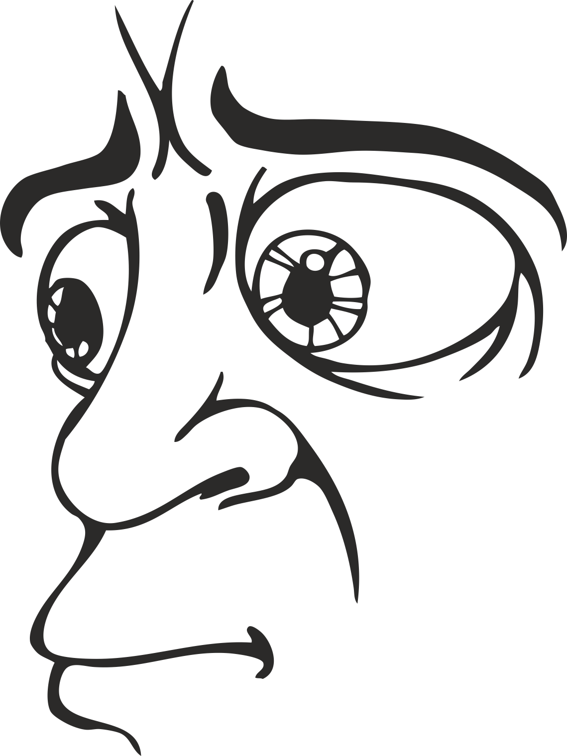 Mens Face Facial Smileys Expression 16 Free DXF File