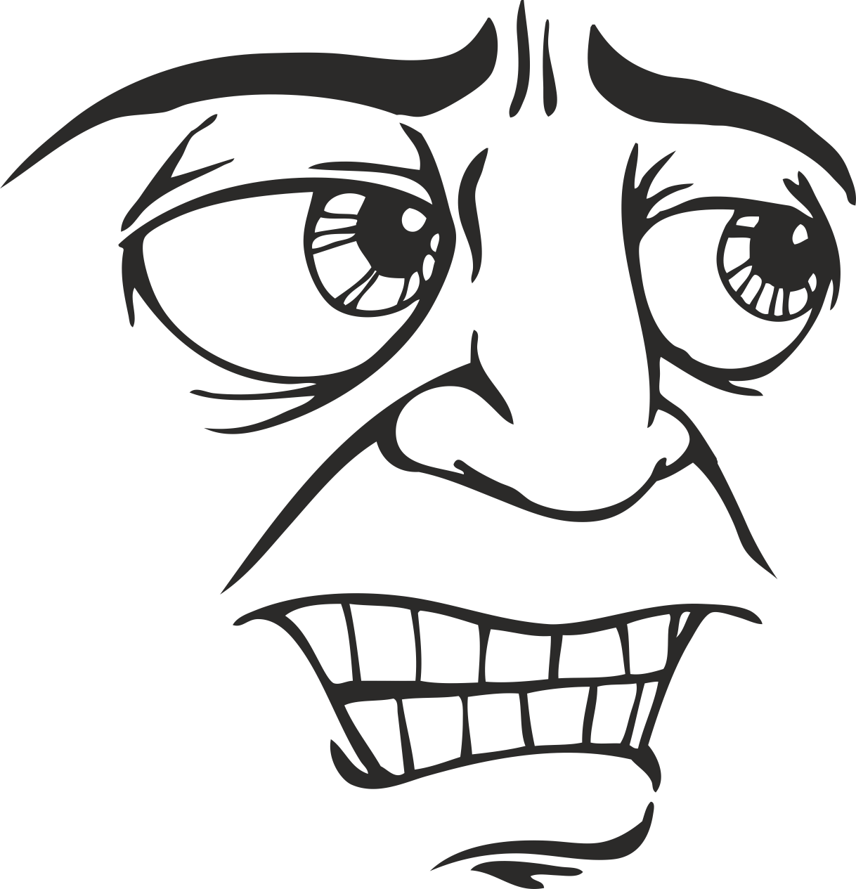 Mens Face Facial Smileys Expression 22 Free DXF File