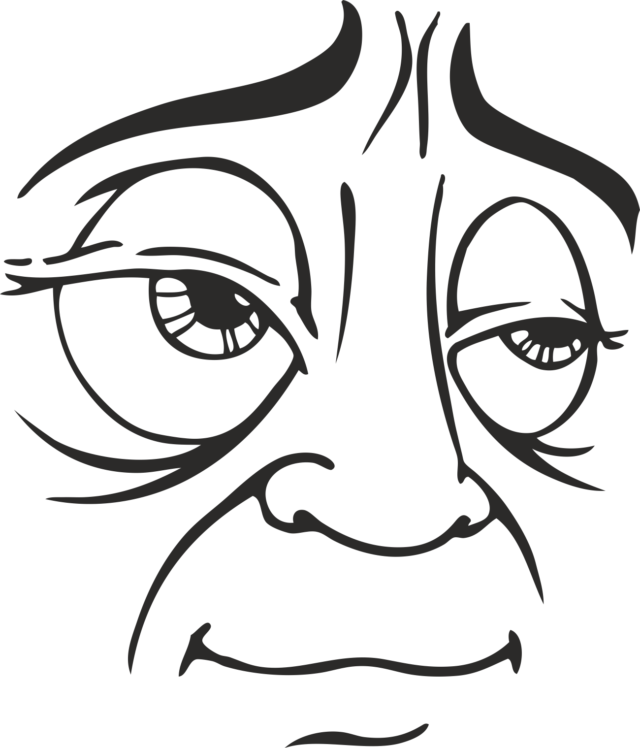 Mens Face Facial Smileys Expression 25 Free DXF File