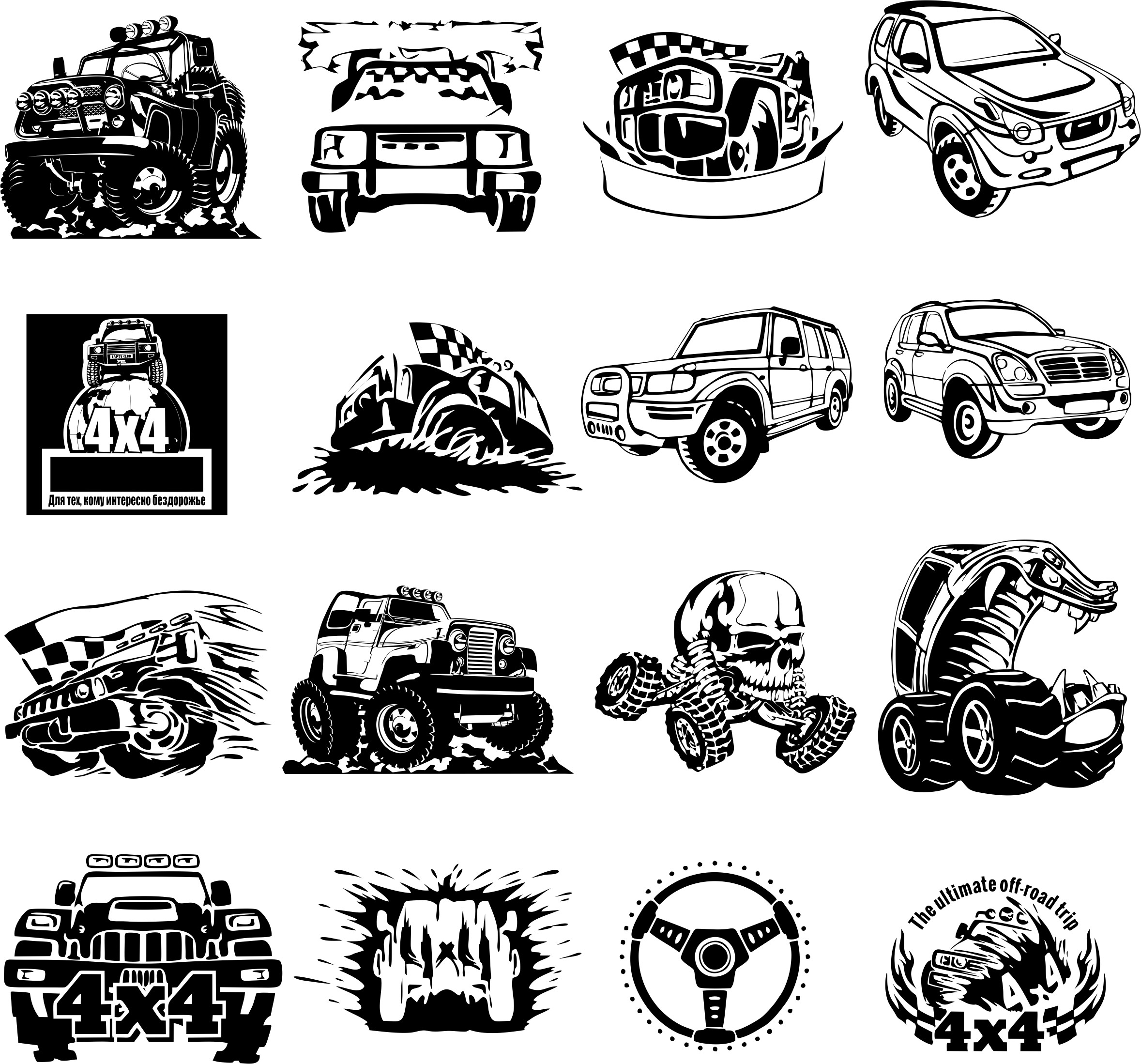 Stickers 4×4 In Vector Collection Free DXF File