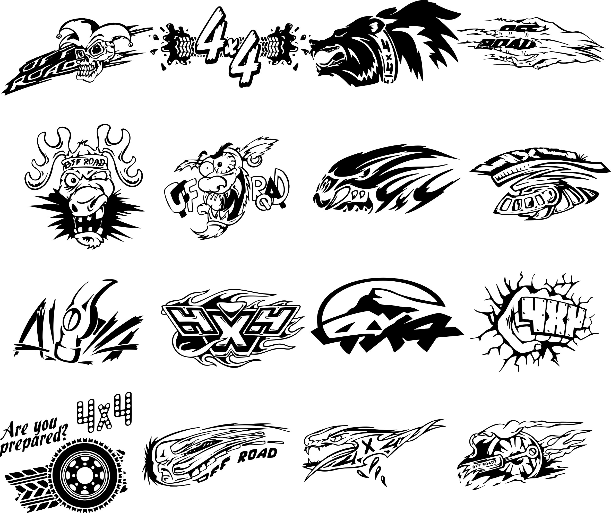 Stickers For Jeep 4×4 Vector Clipart Free DXF File