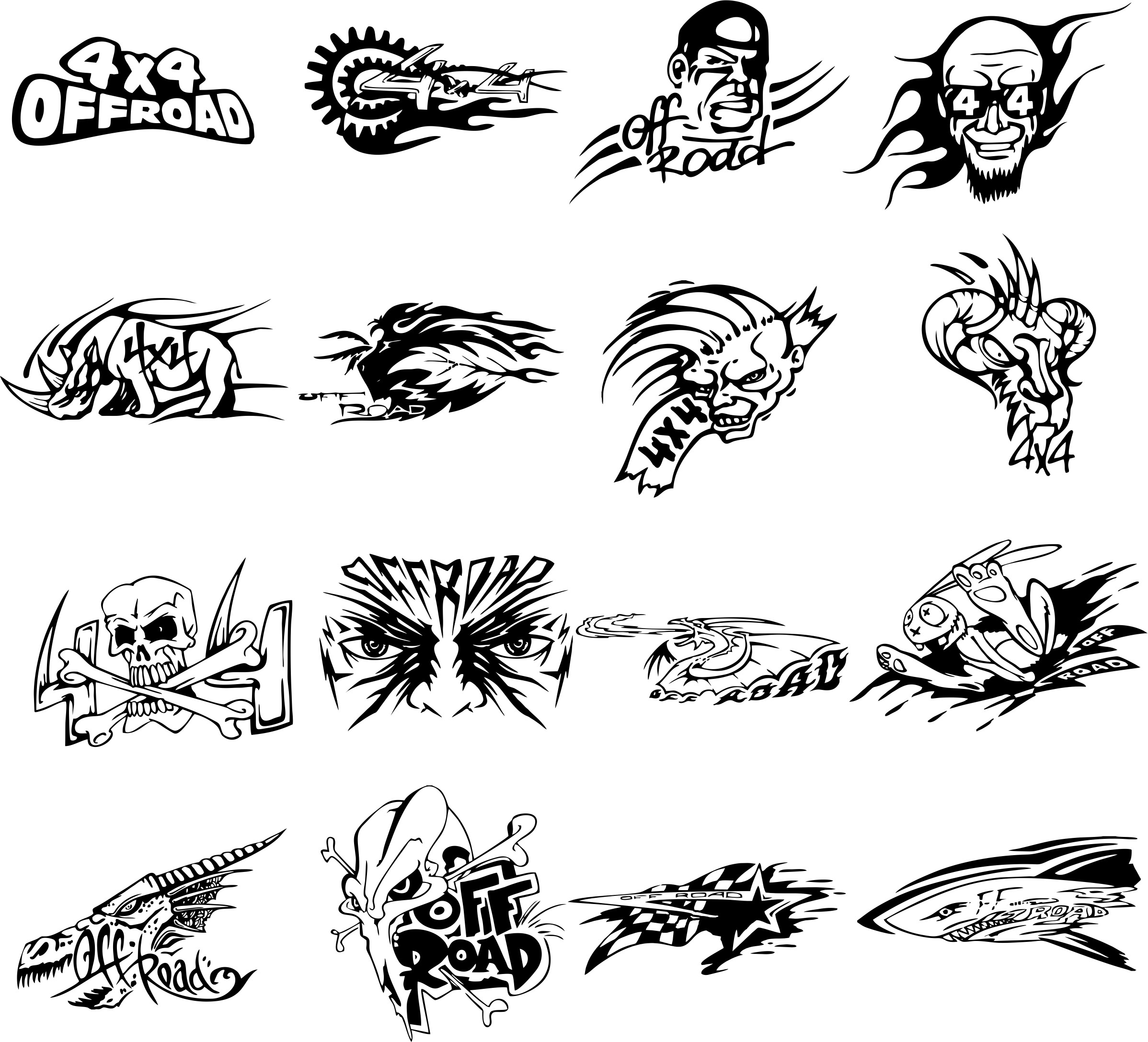 Stickers For off-road 4×4 Free DXF File