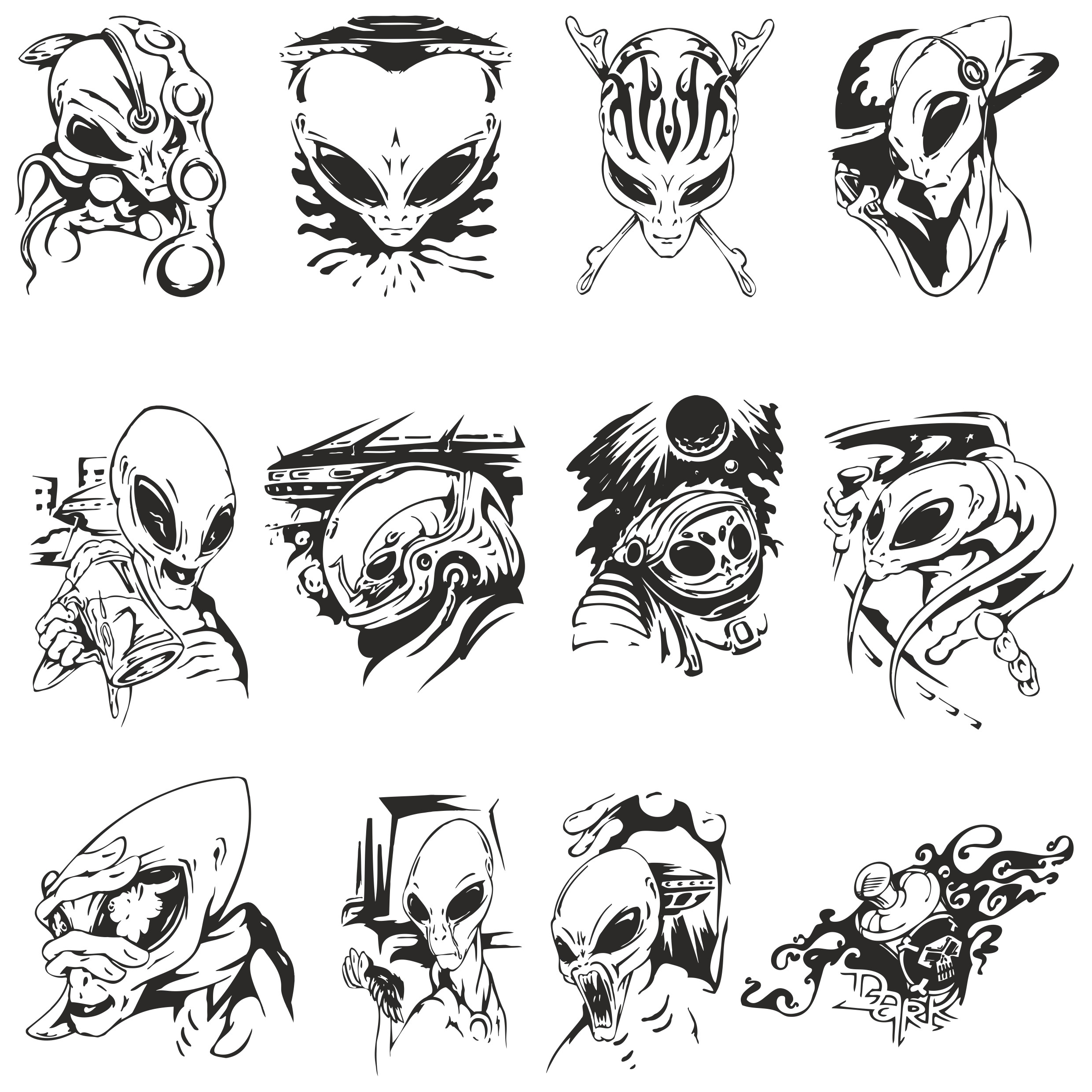 Vector Collection Of Aliens For Plotter Cutting Free DXF File
