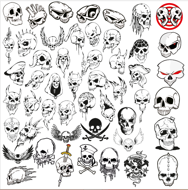 Vector Skulls Collection Free DXF File