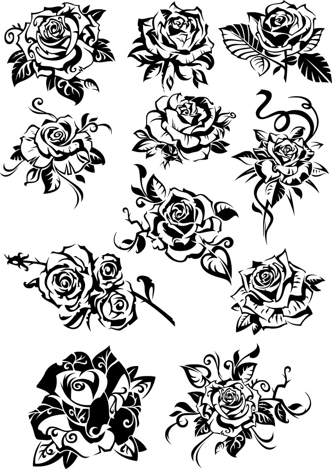 Roses Black And White Clipart Free DXF File