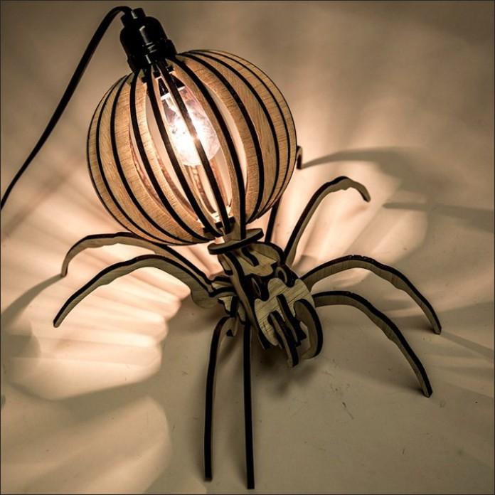 Desktop Lamp Layout Spider Decoration Free DXF File