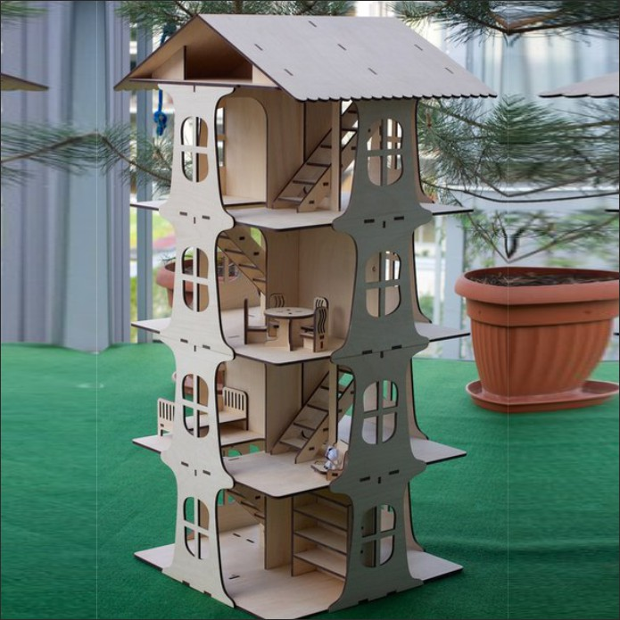 Four Storey Doll House Layout Free DXF File