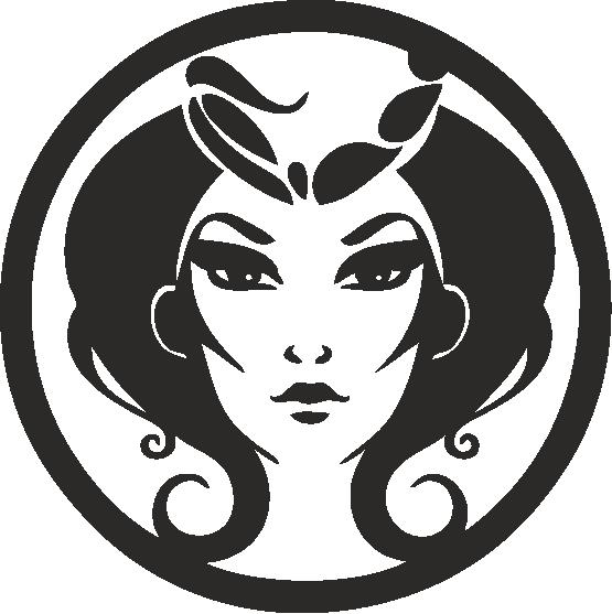 Funny Zodiac Female Faces Sign 05 Free DXF File