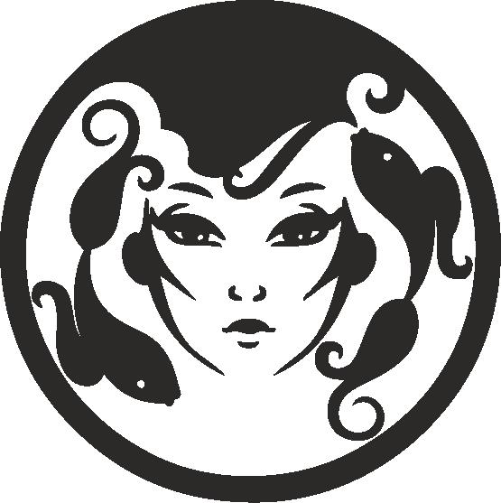 Funny Zodiac Female Faces Sign 09 Free DXF File