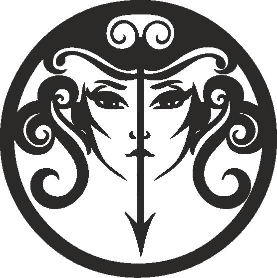 Funny Zodiac Female Faces Sign 12 Free DXF File