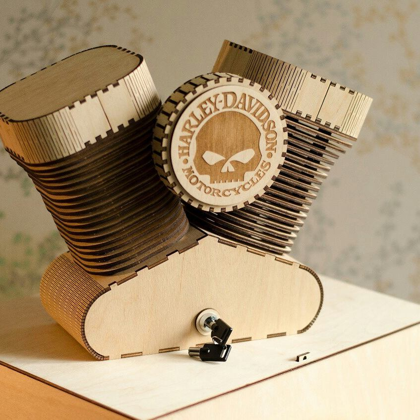 Layout Of The Table Lamp For Fans Of Harley Davidson Free DXF File