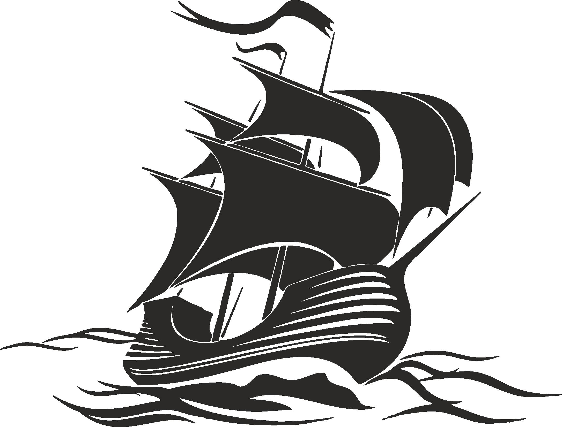 Sailboat Beautiful Silhouettes Of Sailing Ships 02 Free DXF File