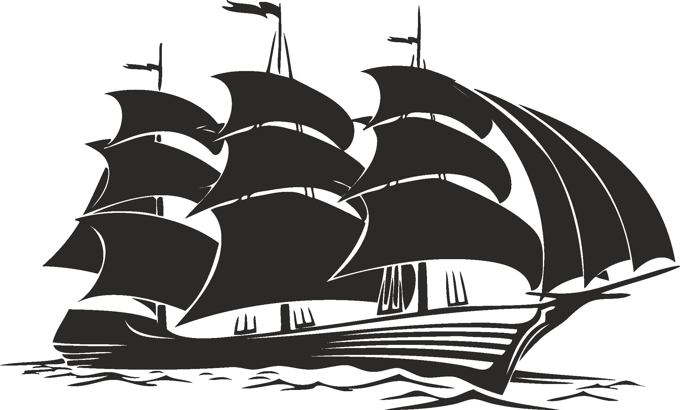 Sailboat Beautiful Silhouettes Of Sailing Ships 03 Free DXF File