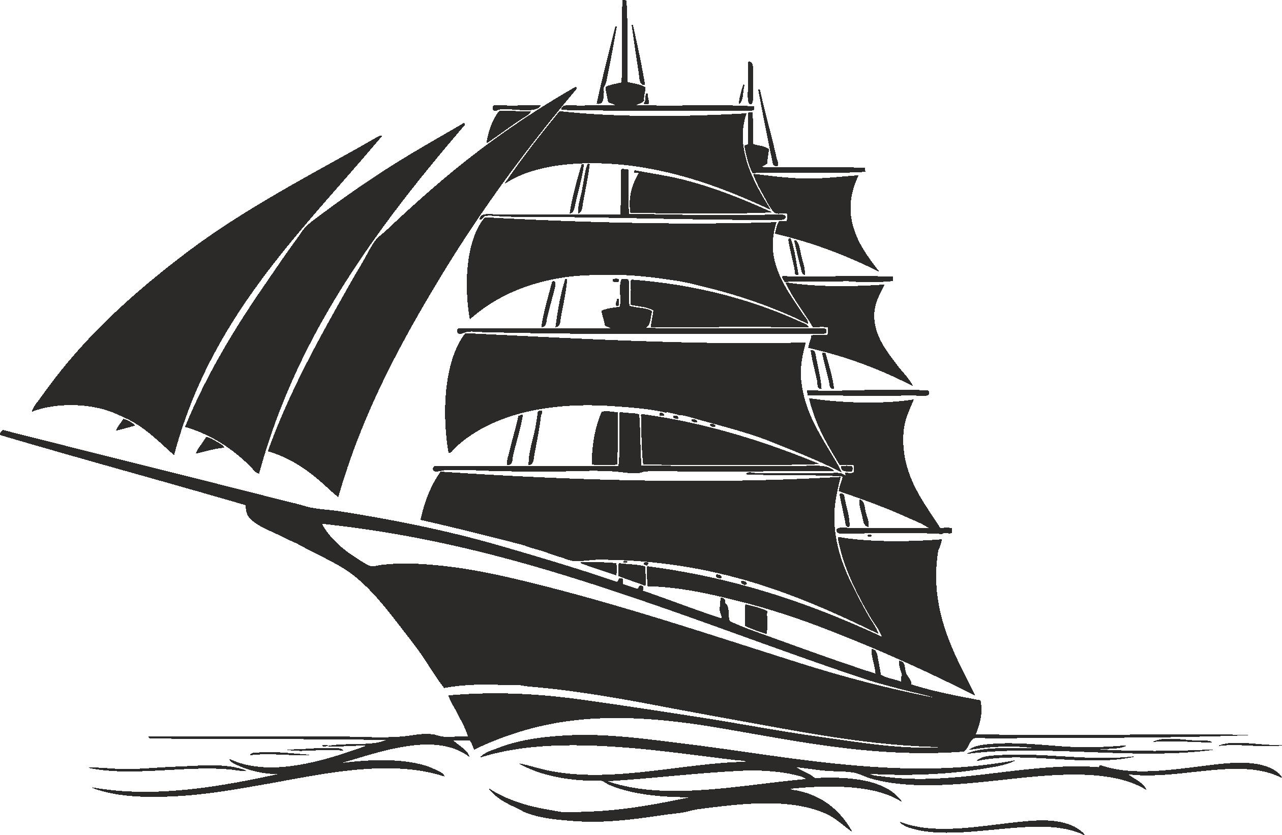 Sailboat Beautiful Silhouettes Of Sailing Ships 04 Free DXF File