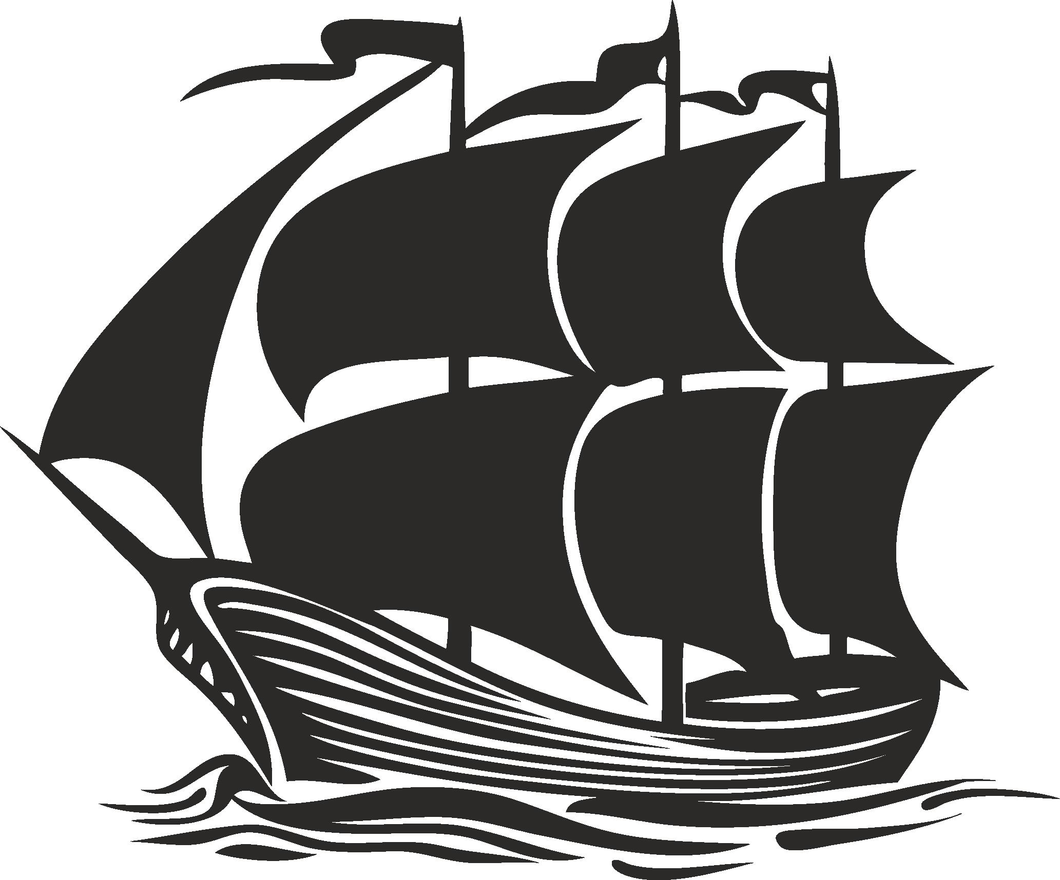 Sailboat Beautiful Silhouettes Of Sailing Ships 06 Free DXF File