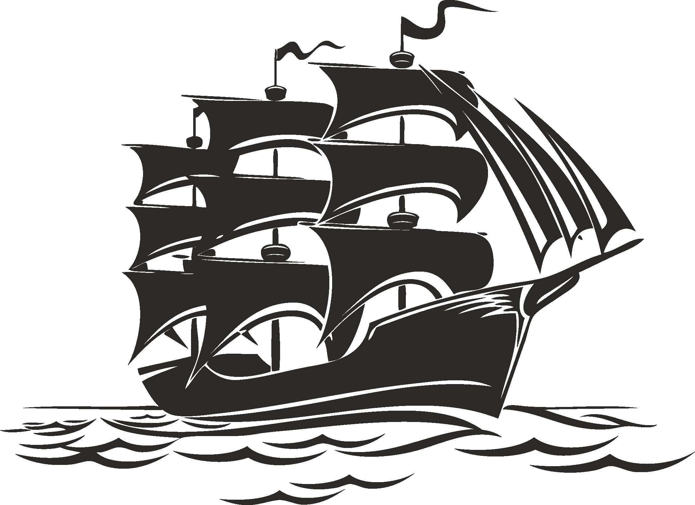 Sailboat Beautiful Silhouettes Of Sailing Ships 07 Free DXF File