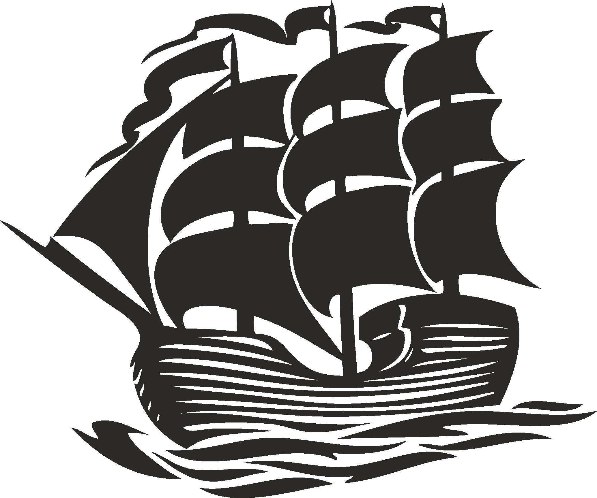 Sailboat Beautiful Silhouettes Of Sailing Ships 09 Free DXF File