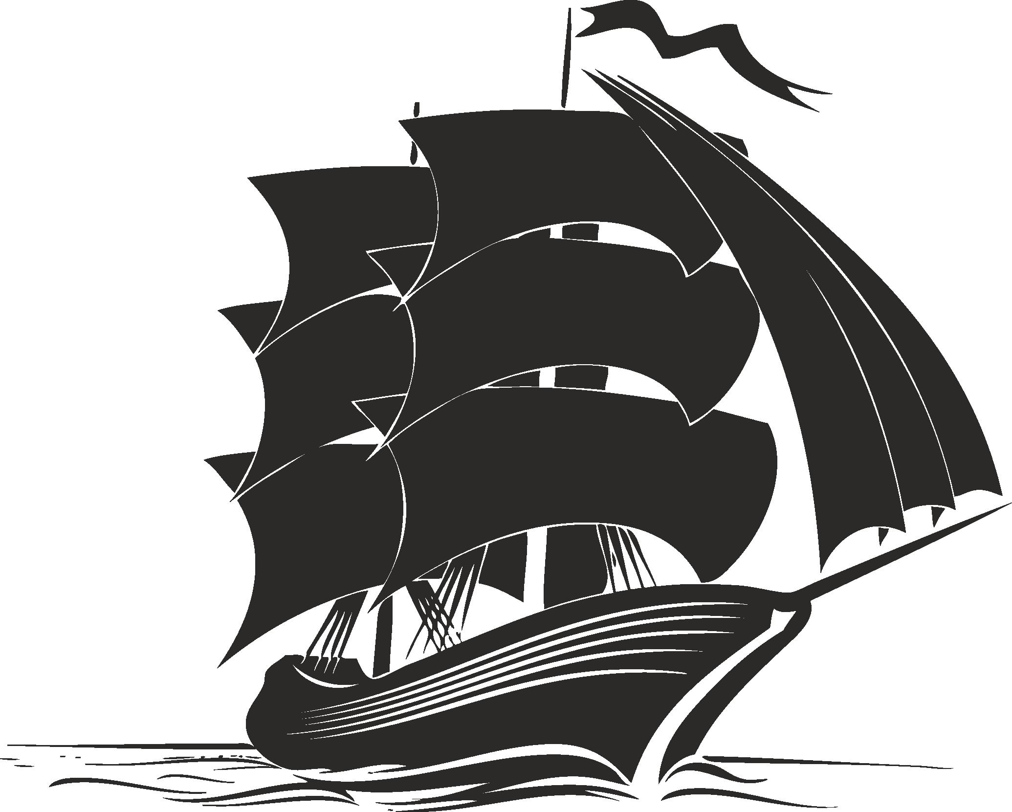 Sailboat Beautiful Silhouettes Of Sailing Ships 11 Free DXF File