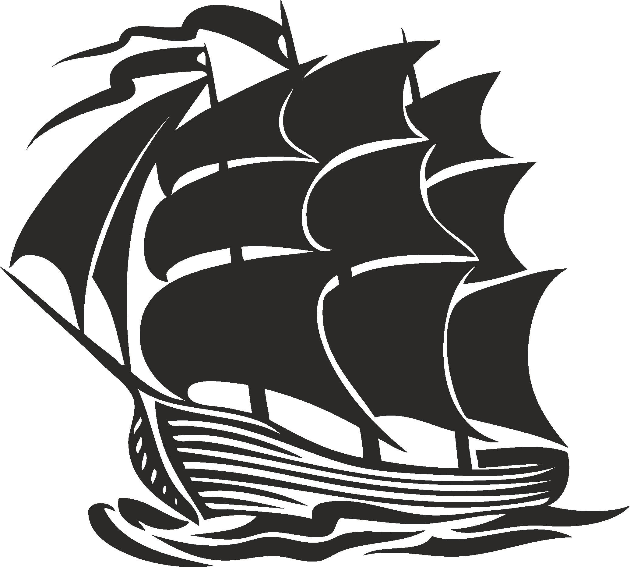 Sailboat Beautiful Silhouettes Of Sailing Ships 12 Free DXF File