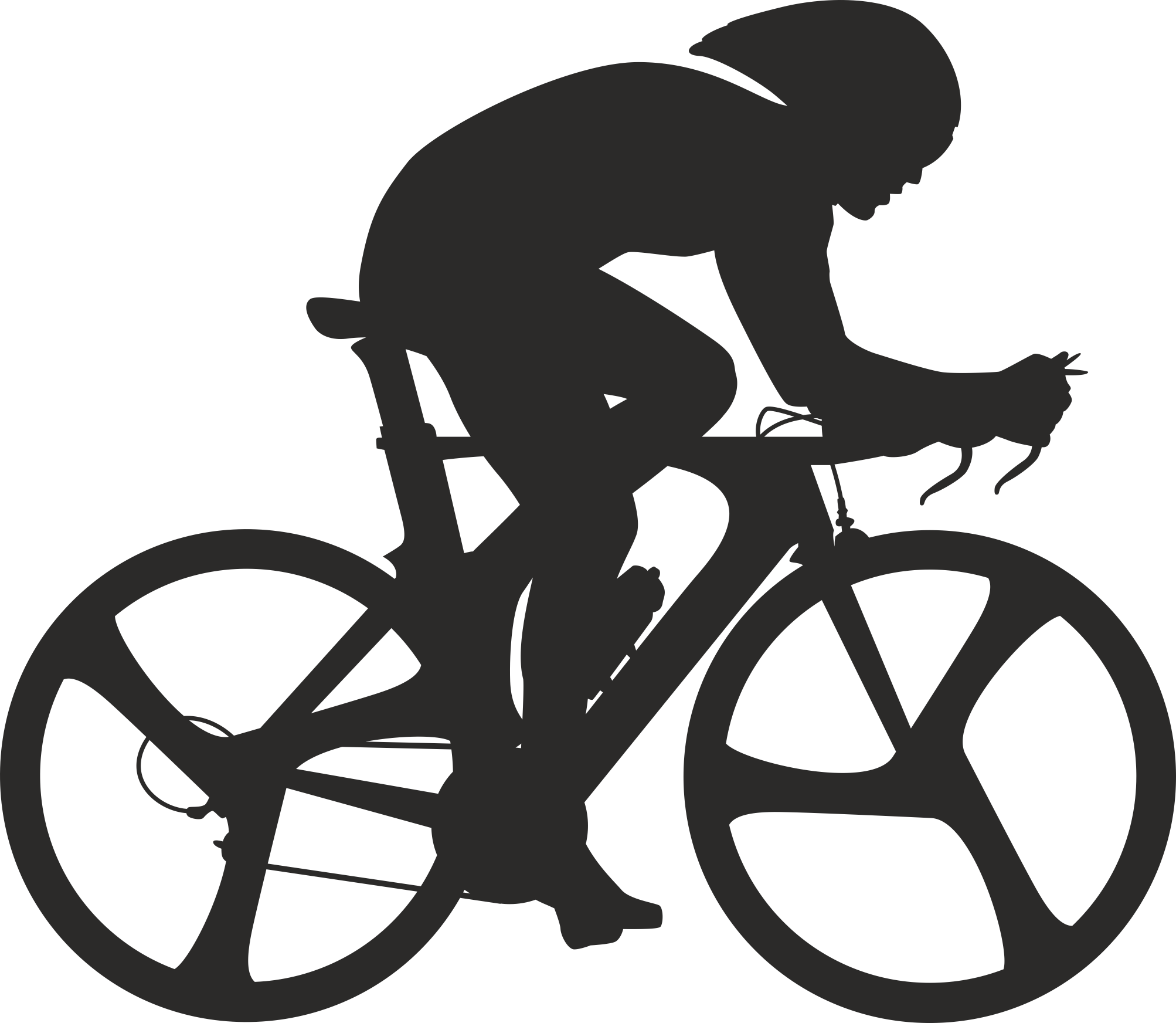 Silhouette Cyclist Collection Of Bicycle 01 Free DXF File