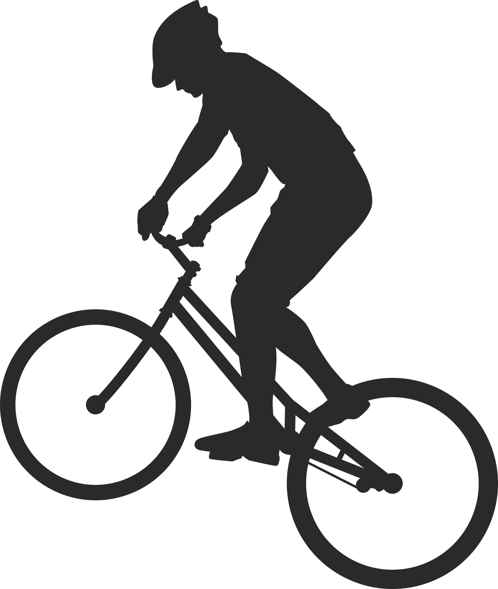 Silhouette Cyclist Collection Of Bicycle 04 Free DXF File