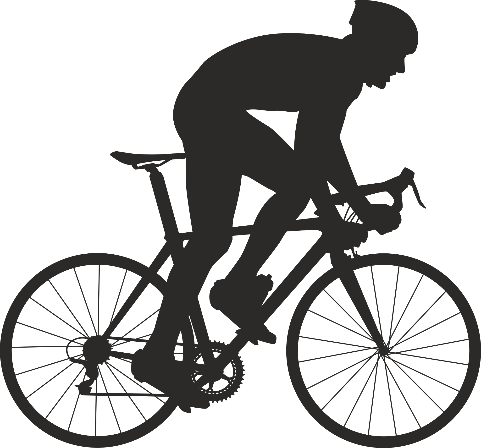 Silhouette Cyclist Collection Of Bicycle 05 Free DXF File