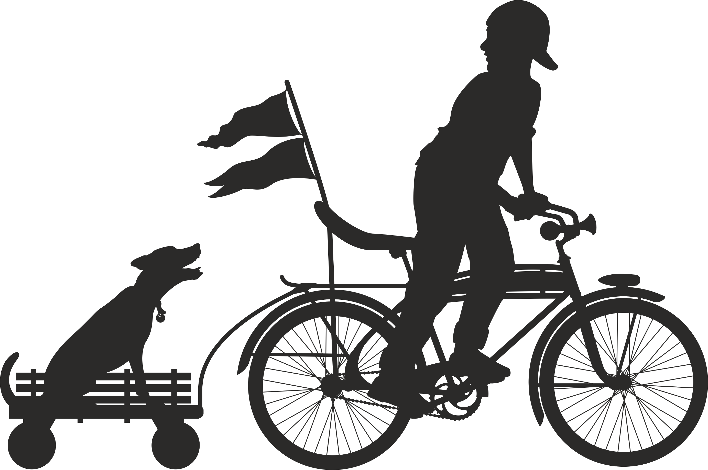 Silhouette Cyclist Collection Of Bicycle 06 Free DXF File
