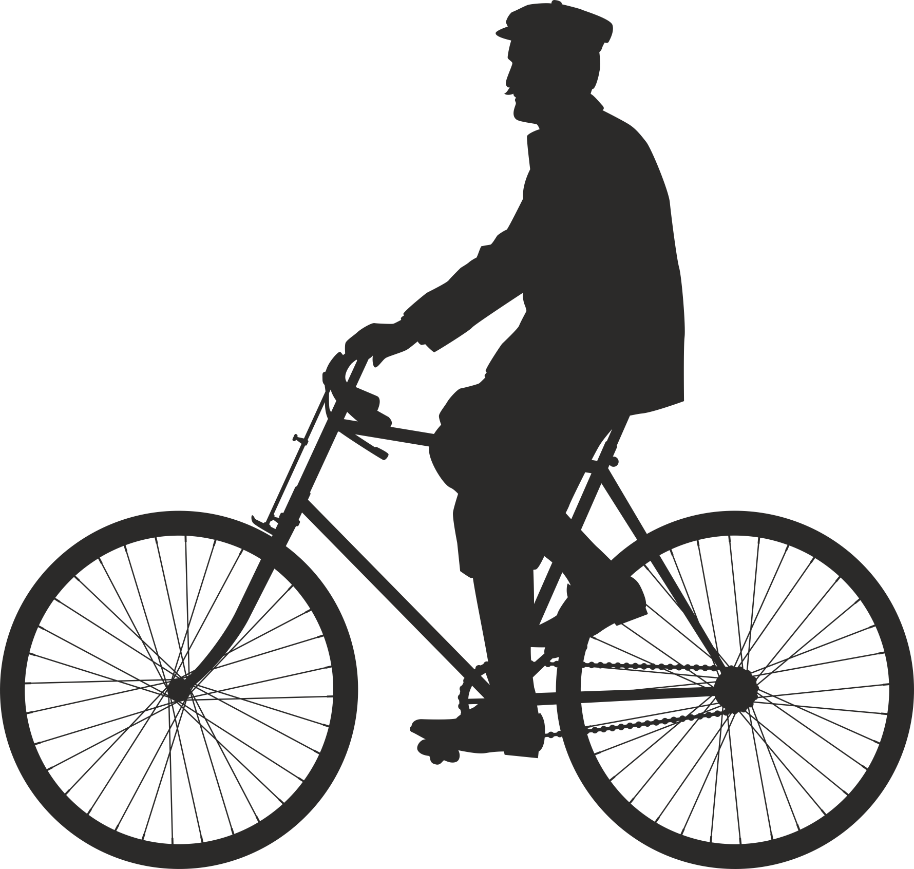 Silhouette Cyclist Collection Of Bicycle 07 Free DXF File
